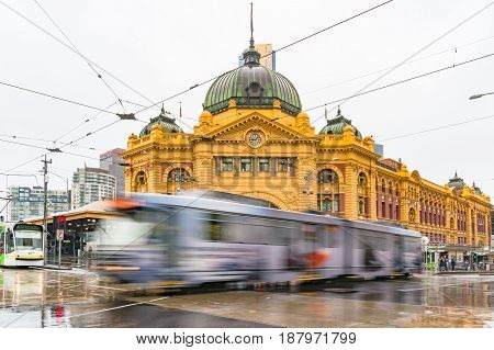 Tram Driving In Front Of Flinders Street Station