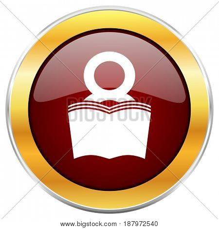 Book red web icon with golden border isolated on white background. Round glossy button.