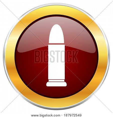 Ammunition red web icon with golden border isolated on white background. Round glossy button.