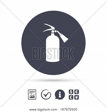 Fire extinguisher sign icon. Fire safety symbol. Report document, information and check tick icons. Currency exchange. Vector