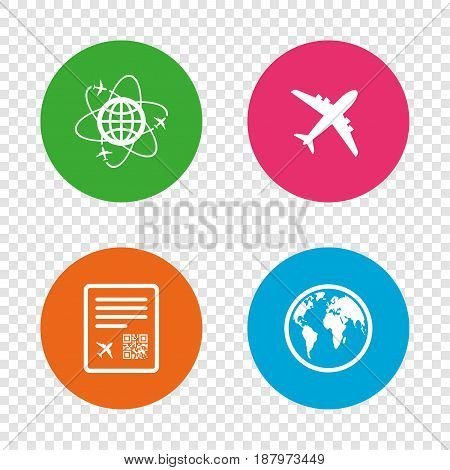 Airplane icons. World globe symbol. Boarding pass flight sign. Airport ticket with QR code. Round buttons on transparent background. Vector
