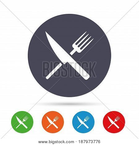 Food sign icon. Cutlery symbol. Knife and fork. Round colourful buttons with flat icons. Vector