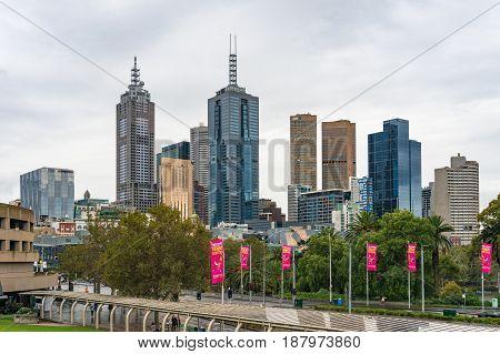 Melbourne City View On Rainy Weather