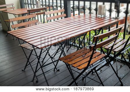 Wooden Folding Table And Chairs stock photo