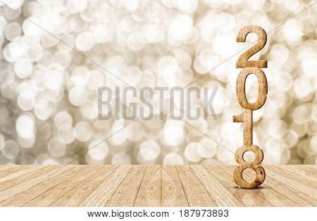 2018 (3d rendering) year wood number in perspective room with sparkling bokeh wall and wooden plank floor