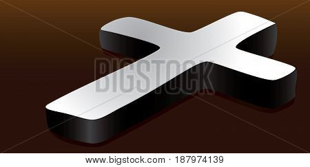Religious cross on the surface. Vector illustration.