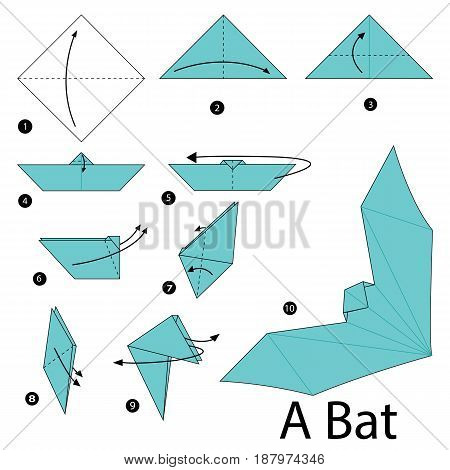 step by step instructions how to make an origami A  bat