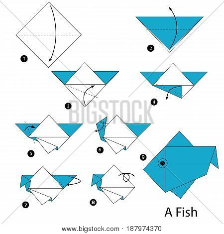 step by step instructions how to make an origami A fish