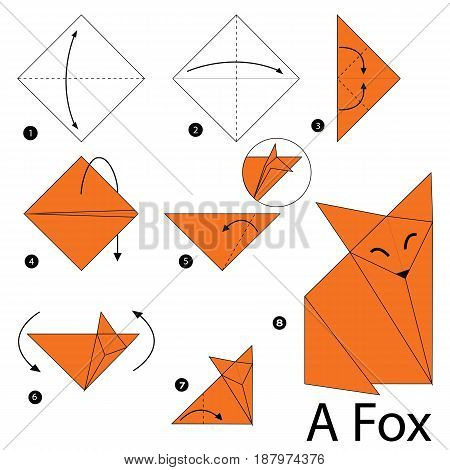 step by step instructions how to make an origami A fox