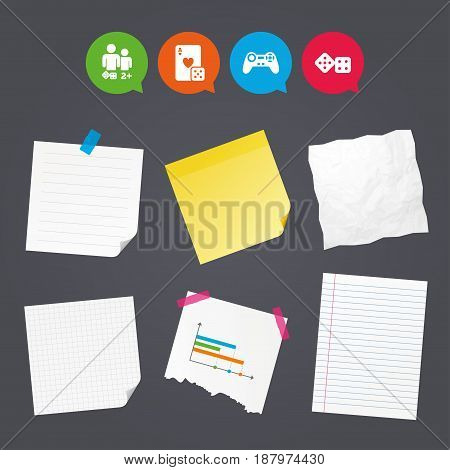 Business paper banners with notes. Gamer icons. Board games players signs. Video game joystick symbol. Casino playing card. Sticky colorful tape. Speech bubbles with icons. Vector