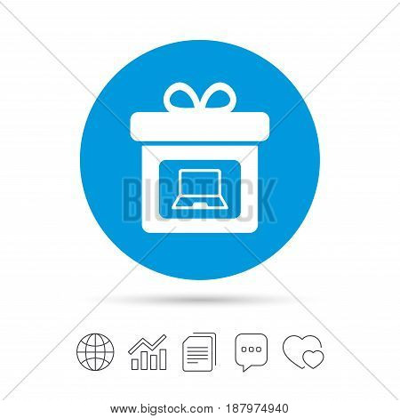 Gift box sign icon. Present with notebook pc symbol. Copy files, chat speech bubble and chart web icons. Vector