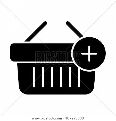 Shopping basket vector icon. Black and white Add product to cart illustration. Solid linear icon. eps 10