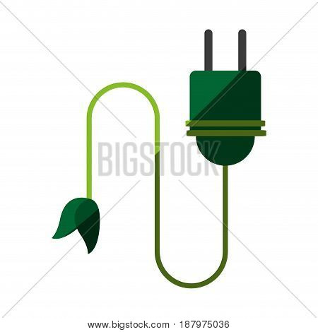 plug with leaf eco friendly related icon image vector illustration design