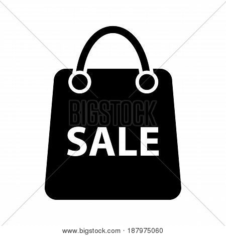 Shopping sale vector icon. Black and white bag icon for advertising discounts illustration. Solid linear shopping icon. eps 10
