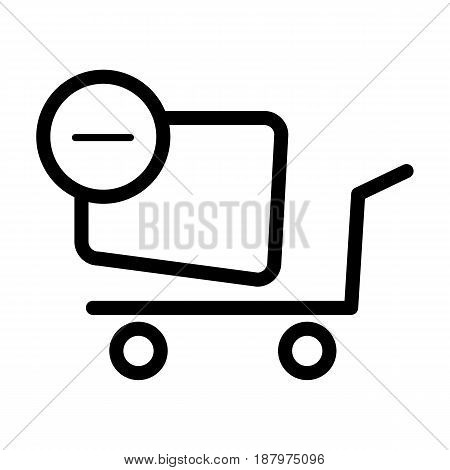 Shopping cart vector icon. Black and white Remove item from cart illustration. Outline linear icon. eps 10
