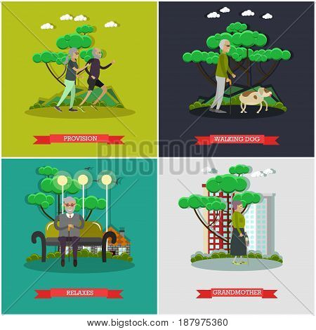 Vector set of aged people posters. Provision, walking dog, Relaxes and Grandmother flat style design elements.