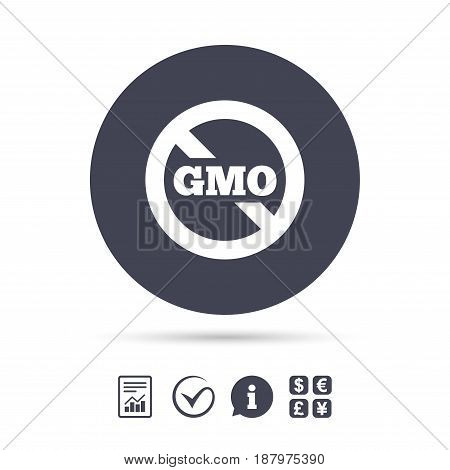 No GMO sign icon. Without Genetically modified food. Stop GMO. Report document, information and check tick icons. Currency exchange. Vector