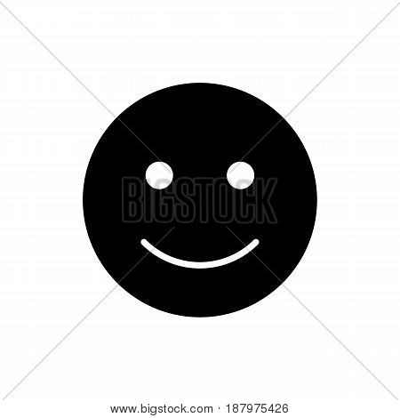 Happy smiley vector icon. Black and white smile illustration. Solid linear emotion icon. eps 10