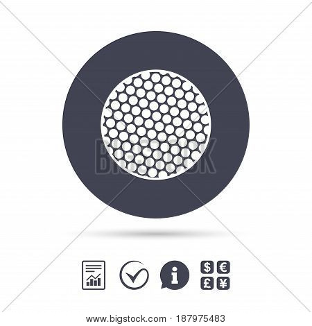 Golf ball sign icon. Sport symbol. Report document, information and check tick icons. Currency exchange. Vector