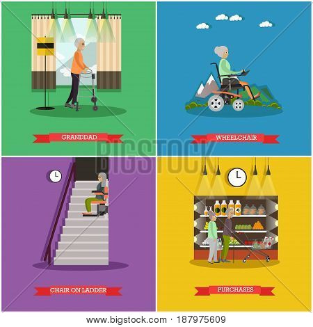 Vector set of aged people posters. Granddad, Wheelchair, Stair lift and Purchases flat style design elements.