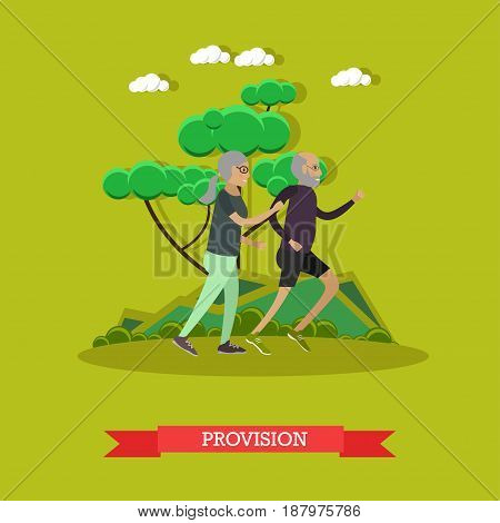 Vector illustration of happy mature couple enjoying spending time together. Active senior man and woman jogging in park. Provision for the elderly concept design element in flat style.