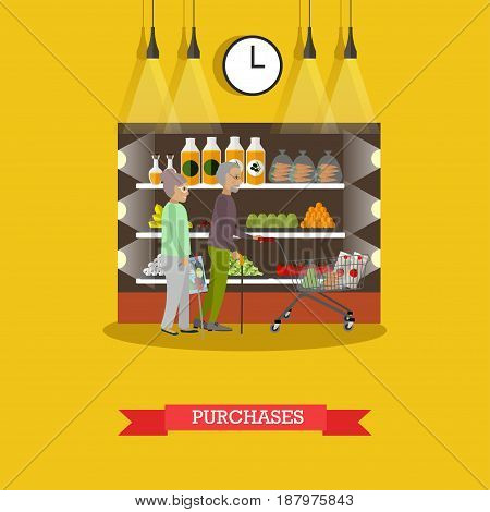 Vector illustration of senior couple doing shopping in grocery store. Elderly man and woman with shopping cart buying groceries. Purchases concept design element in flat style.