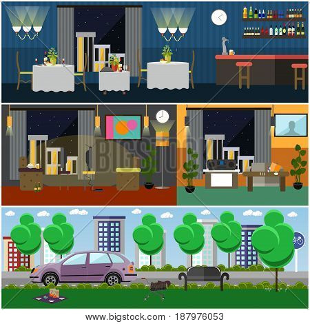 Bad habits interior vector illustration. Living room, restaurant, cafe, bar interior, city street or park. Flat style design.