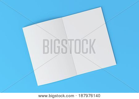 Blank White Open Brochure Mock-up On Blue Background