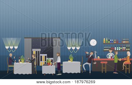 Vector illustration of couple smoking cigars, drunk man drinking wine at restaurant. Tobacco addiction and alcohol abuse concept design element in flat style.