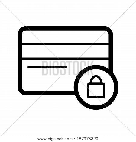 Credit card with lock vector icon. Black and white credit card secure illustration. Outline linear icon. eps 10
