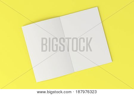 Blank White Open Brochure Mock-up On Yellow Background
