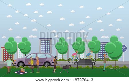 Vector illustration of young people going to smoke marijuana, man using psychedelic mushrooms and homeless man pushing cart with old stuff. Drug addiction and vagrancy concept flat style design