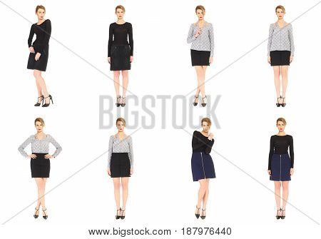 Blond Model With Luxury Hair And Sport Skirt Isolated