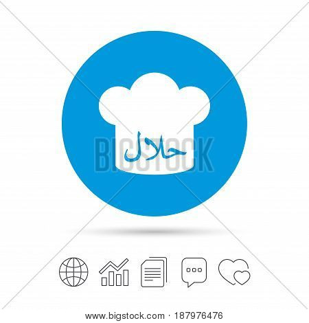 Halal food product sign icon. Chef hat. Natural muslims food symbol. Copy files, chat speech bubble and chart web icons. Vector
