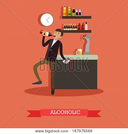 Vector illustration of drunk man drinking alcohol from wine bottle. Alcohol abuse concept design element in flat style.