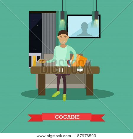 Vector illustration of young man preparing cocaine lines. Drug addiction concept design element in flat style.