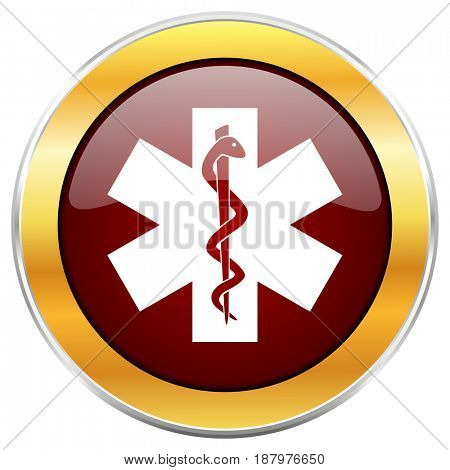 Emergency red web icon with golden border isolated on white background. Round glossy button.