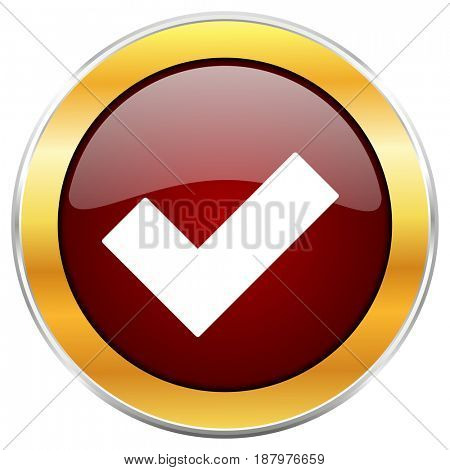 Accept red web icon with golden border isolated on white background. Round glossy button.