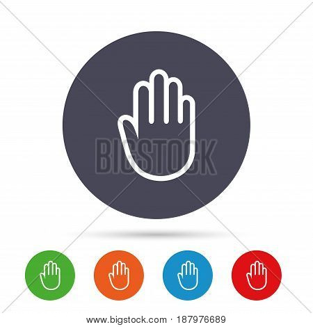 Hand sign icon. No Entry or stop symbol. Give me five. Round colourful buttons with flat icons. Vector