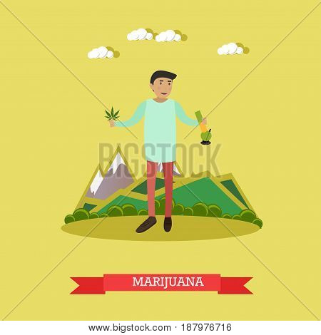 Vector illustration of man holding marijuana leaves in one hand and cannabis smoking bong in another hand. Drug addiction concept flat style design element.