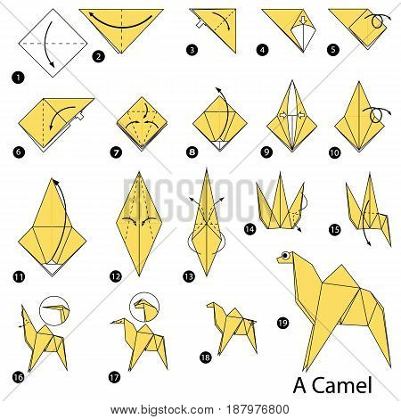 step by step instructions how to make origami A Camel