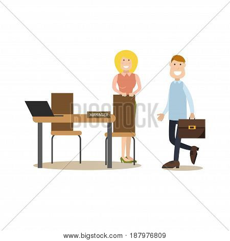 Vector illustration of bank personal manager female and customer male. Bank people concept flat style design elements, icons isolated on white background.
