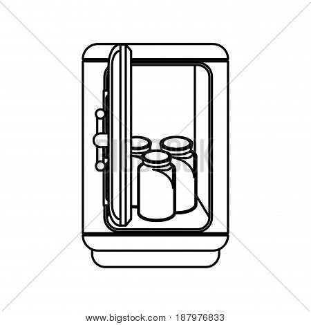 line metal strong box with glass bottles, vector illustration