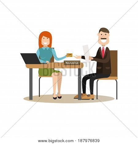 Vector illustration of bank personal manager female giving credit card to customer male. Bank people concept flat style design elements, icons isolated on white background.