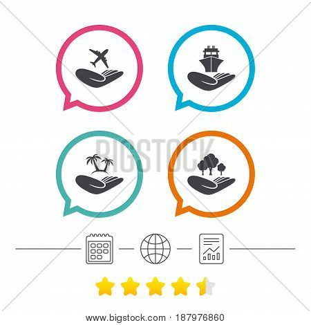 Helping hands icons. Travel flight or shipping insurance symbol. Palm tree sign. Save nature forest. Calendar, internet globe and report linear icons. Star vote ranking. Vector