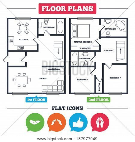 Architecture plan with furniture. House floor plan. Hand icons. Like thumb up symbol. Insurance protection sign. Human helping donation hand. Prayer hands. Kitchen, lounge and bathroom. Vector