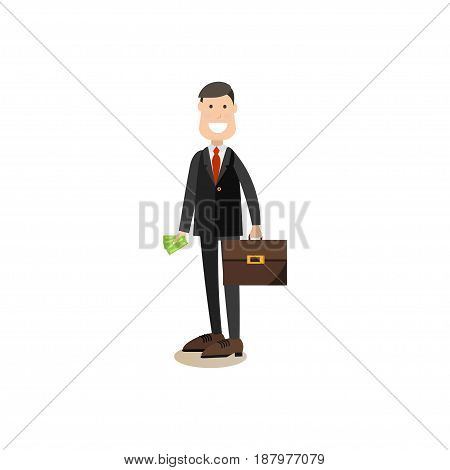 Vector illustration of bank customer male with money and briefcase. Bank people concept flat style design element, icon isolated on white background.