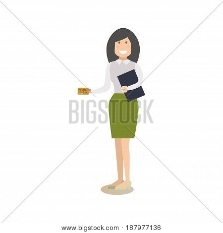 Vector illustration of bank manager or customer female with credit card. Bank people concept flat style design element, icon isolated on white background.