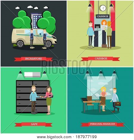 Vector set of bank concept square posters. Collectors, cashbox, Safe and Personal manager flat style design elements.