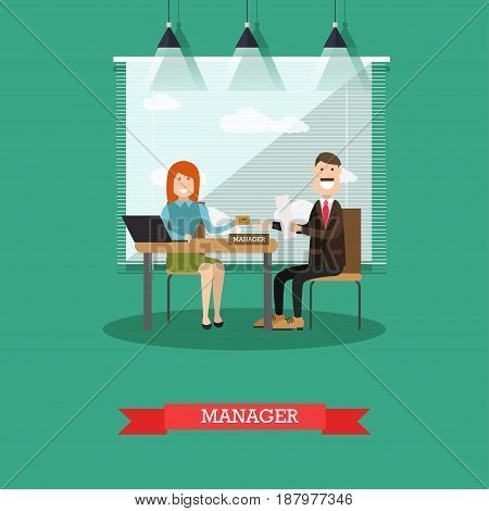 Vector illustration of bank manager female giving credit card to customer male. Banking services concept design element in flat style.